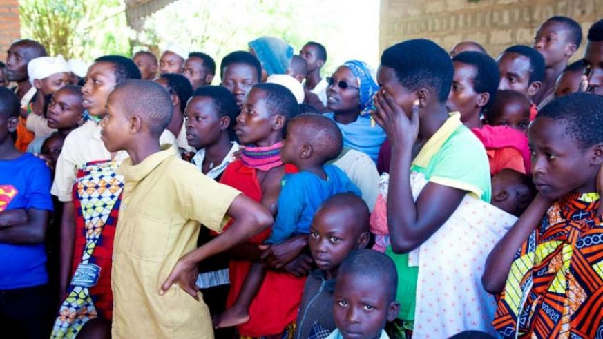 Some of the Burindian Refugees at Gashora transit centre in Bugesera District. File.