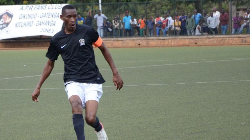 APR assistant captain Jean Baptiste Muriganeza in action during a recent league tie. The Champions face determined Gicumbi in a crucial tie today. (Sam Ngendahimana)