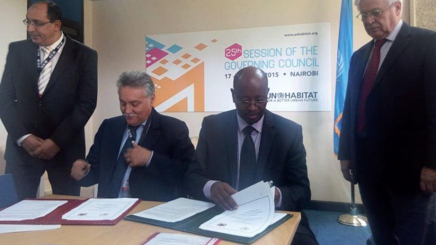 Musoni (second, right) and his Morocco counterpart sign the partnership agreements last week.  (Courtesy)