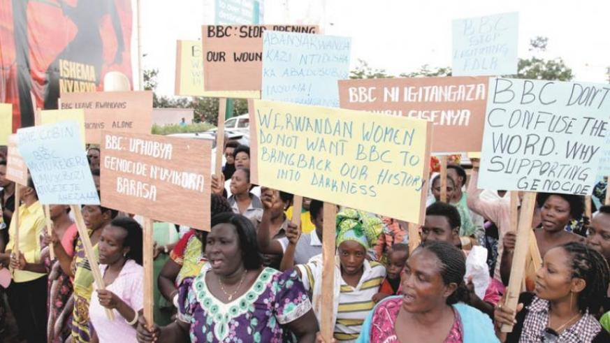 Women demonstrate against the BBC in Kigali last year. (File)