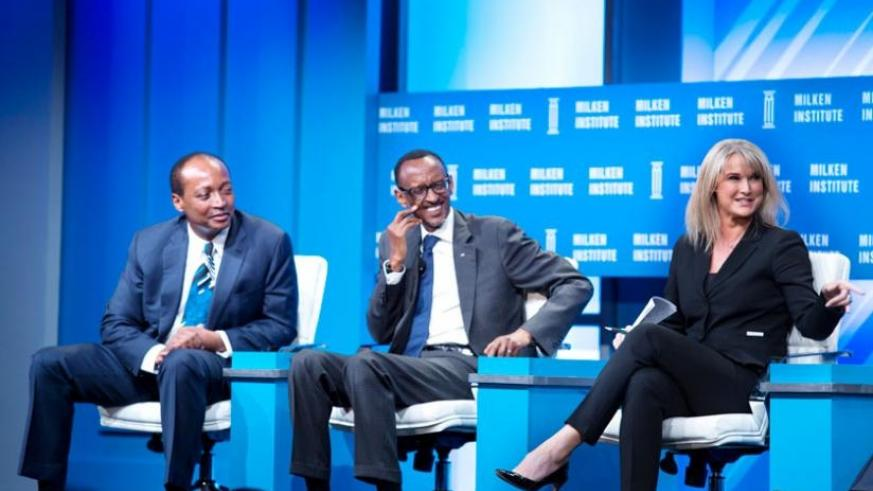 President Kagame on the Milken Institute Global Conference panel on Africa's future with Patrice Motsepe, founder and executive chairman of African Rainbow Minerals (L), and CNBC Editor in Chief Brownyn Nielsen, in Los Angeles, US, yesterday. (Village Urugwiro)