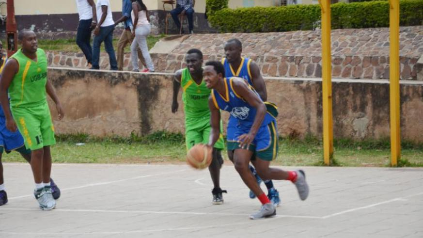 Patriots's power forward Walter Nkurunziza dribbles the ball past UGB players in a league game. The 20-year-old has been an intergral part of the largely youthful team that has impressed many. (Sam Ngendahimana)