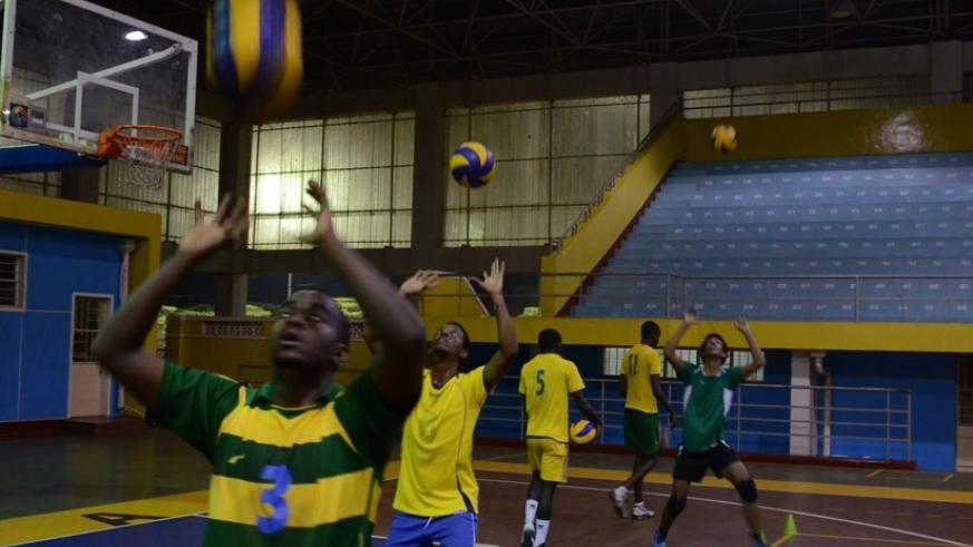 National Volleyball players train for the Zone 5 that starts today. Only Kenya stand in the way of Rwanda. (Sam Ngendahimana)