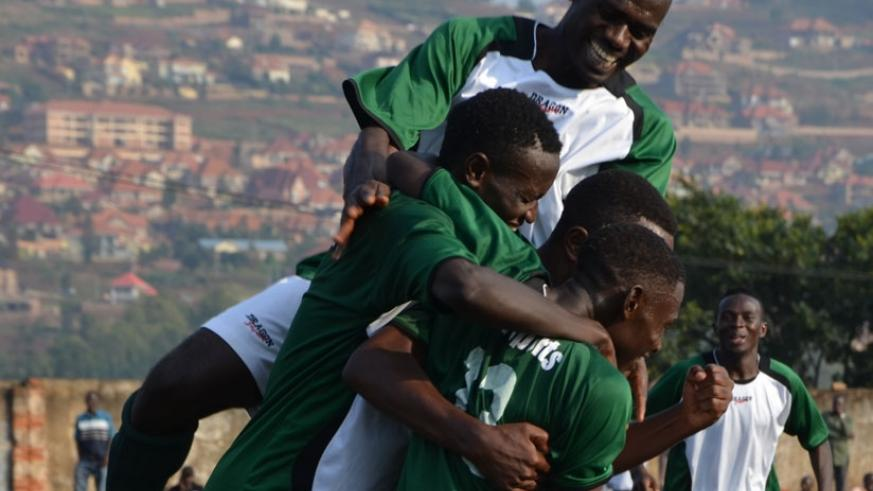 Kiyovu players celebrate a goal in a league match recently. The Nyamirambo side will be keen on avenging their 5-0 defeat against APR in the first leg. (Sam Ngendihimana)