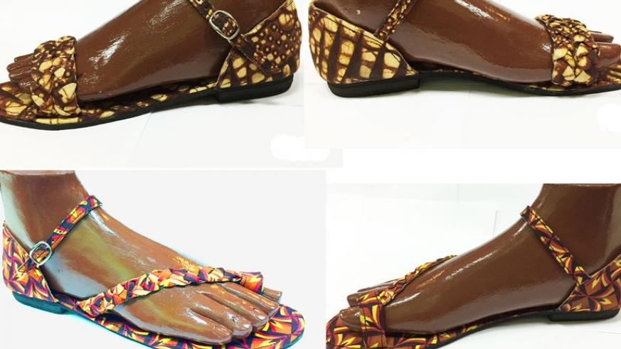 Trendy women's footwear designed from wall paper.  (Lydia Atieno)