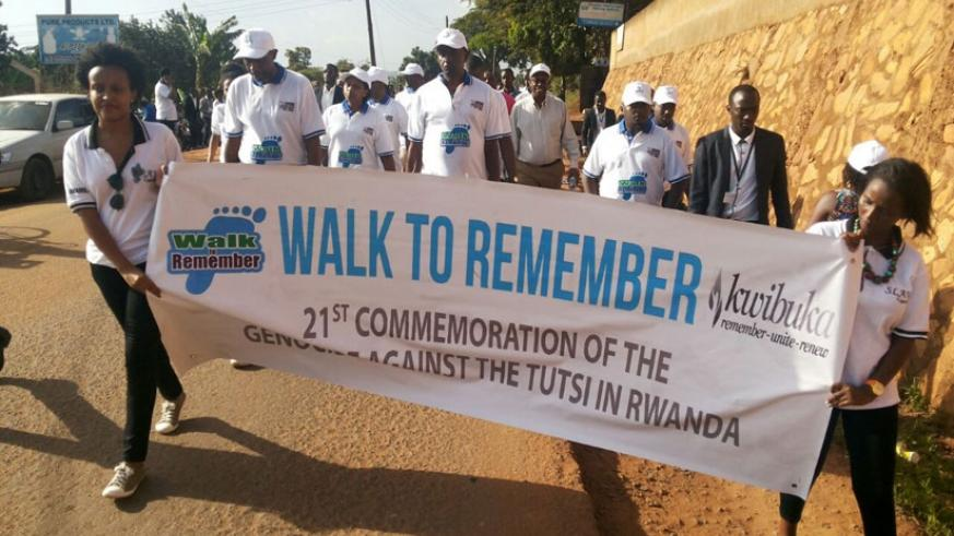Rwandan community in Uganda during the Walk to Remember in Kampala. (Gashegu Muramira)