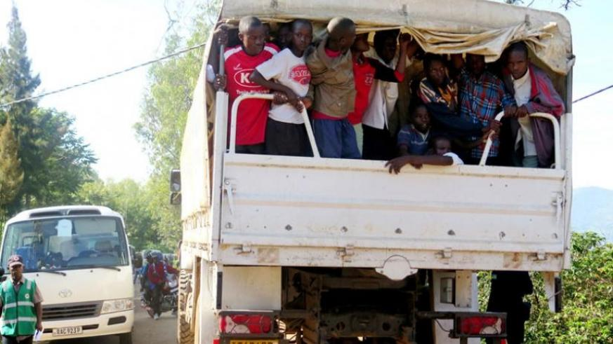 Some Burundian refugees are taken to Muyira Sector for registration last week. (File)