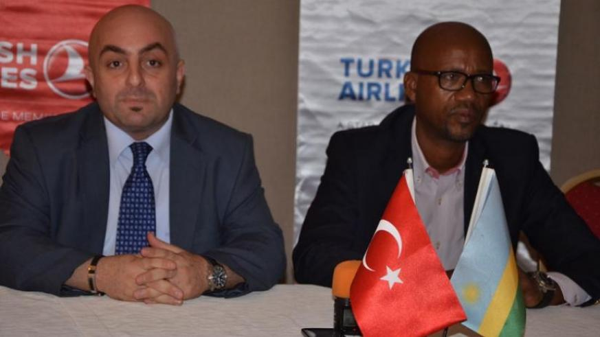 Turkish Airlines country manager Burcin Isler (L) and Rwanda Cycling Federation Chairman Aimable Bayingana during the press briefing yesterday. (Sam Ngendahimana)