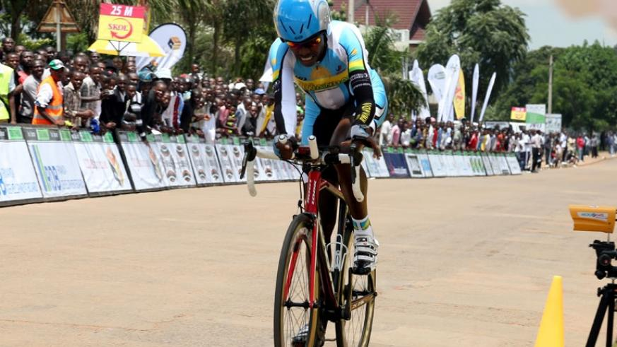 Janvier Hadi in a previous race. He is one of the six elite Team Rwanda riders that will be competing for a Podium finish at the African Mountain Bike Championship in Musanze. (File)