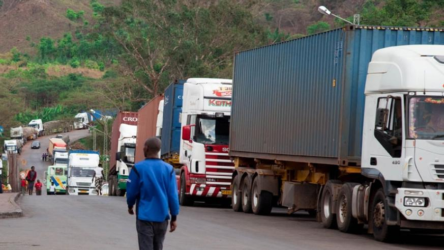 Trucks from Tanzania line up at Rusumo border waiting for clearance. (File)
