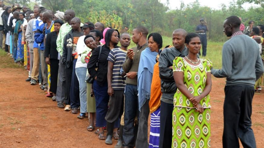 Voters line up during an electoral exercise in Kicukiro District on April 12. (File)