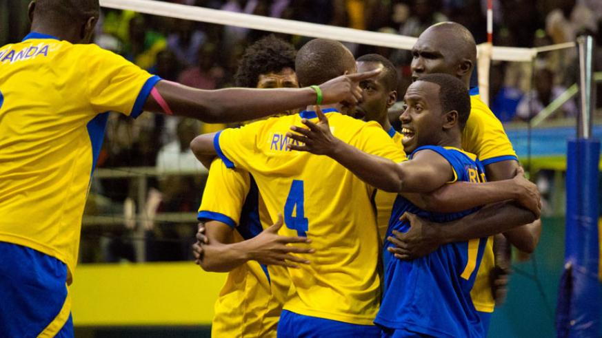 The National Volleyball team celebrate after winning the Zone 5. Rwanda will send two teams the indoor and Beach Volleyball teams to the All Africa Games. (T.Kisambira)