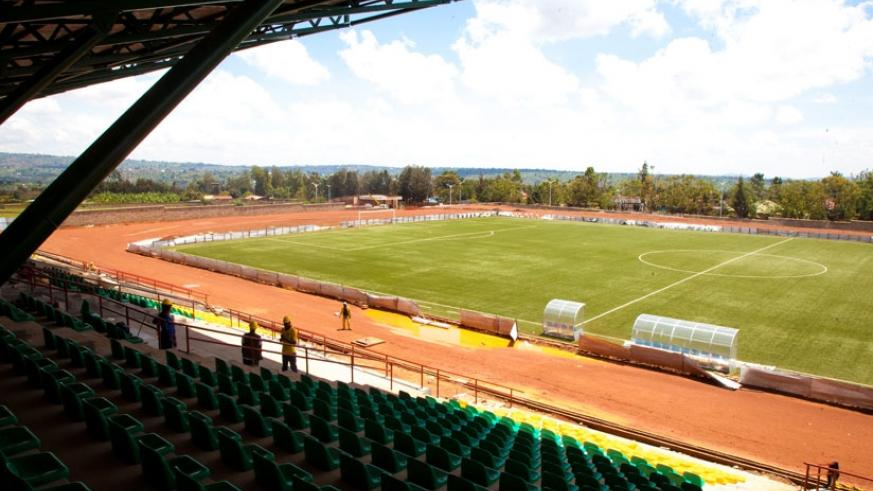 Huye stadium under construction last year. It is one of the venues that will be evaluated by the CAF inspection team. (File)