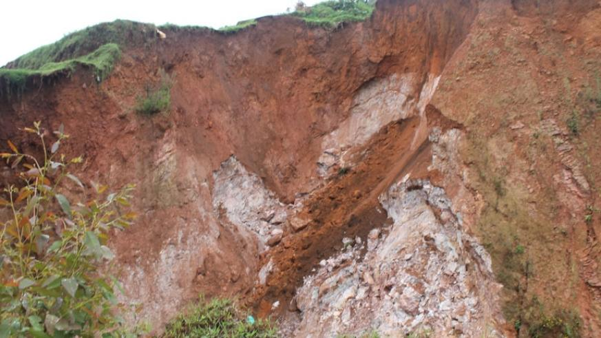 A landslide site  where at least 10 people have separately been killed in two years. (Theogene Nsengimana)
