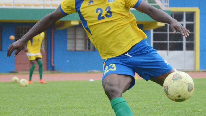 Isaie Songa, during a training seesion yesterday. He netted Rwanda's goal against Somalia in the 1-1 draw 10 days ago. (S. Ngendahimana)