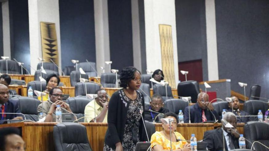 Nakawuki contributes to EALA debate during a session in Kigali last year. (File)