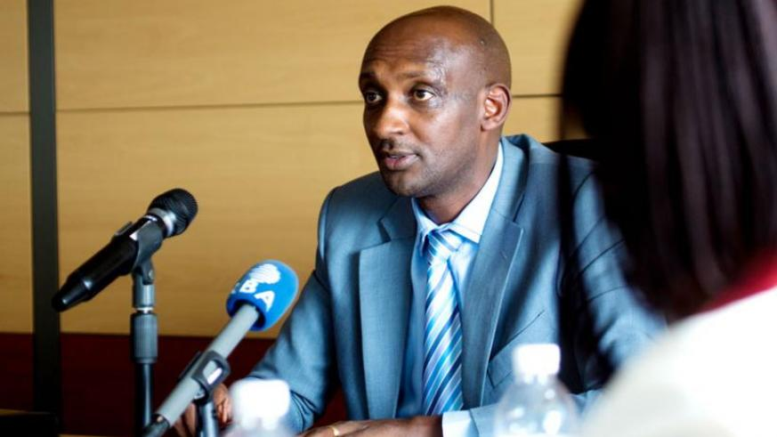 Richard Tusabe, the commissioner-general of Rwanda Revenue Authority (RRA), addresses the media on Wednesday. RRA says it is plugging loopholes that allowed a former HR officer to fleece taxpayers. (File)