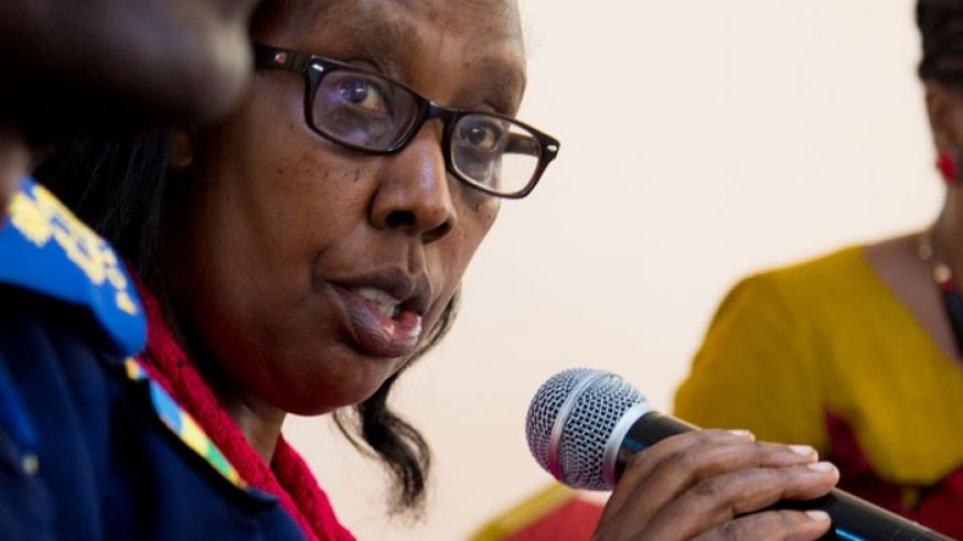 Rose Rwabuhihi, the Chief Gender Monitor, speaks at the roundtable meeting on women, peace and security in Kigali, yesterday. (Doreen Umutesi)