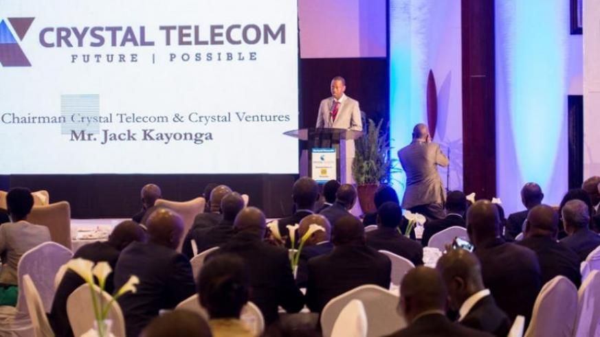 Kayonga speaks during the Initial Public Offering launch in Kigali yesterday. (Timothy Kisambira)