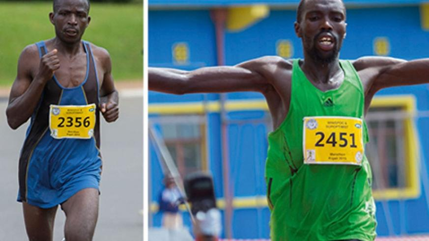 Rwanda's Ruvubi  (L) finished a historic second in a race won by Kenya's Ezekial Omullo Kemboi, seen here celebrating as he crossed the finish line to win the men's full marathon, yesterday. (T. Kisambira)