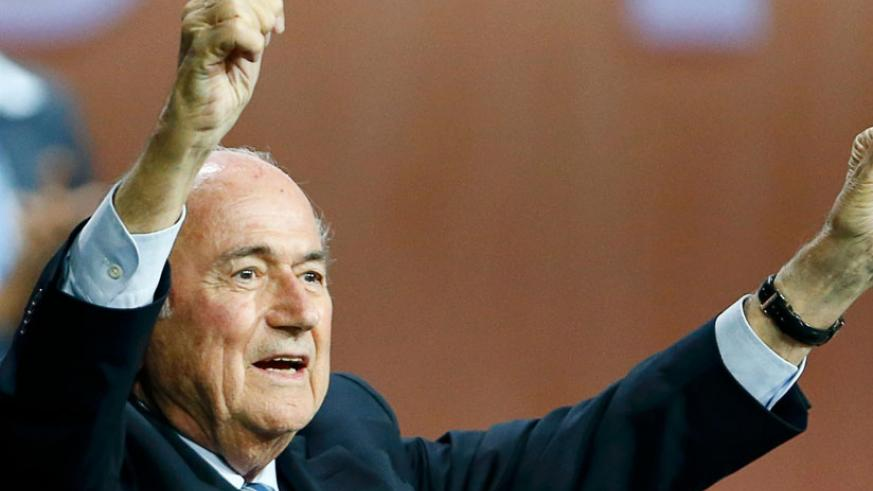 Sepp Blatter reacts after he was re-elected as Fifa president. (Internet photo)