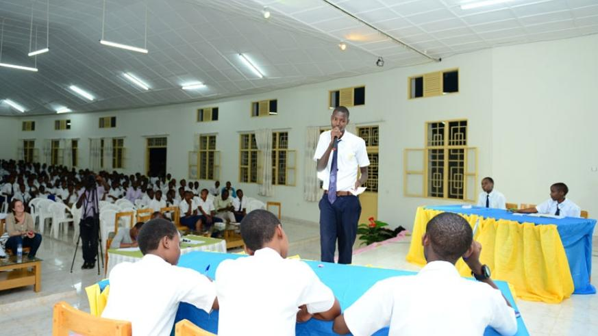 A student airs his views  during last year's inter schools debating competition in Kigali. (File)