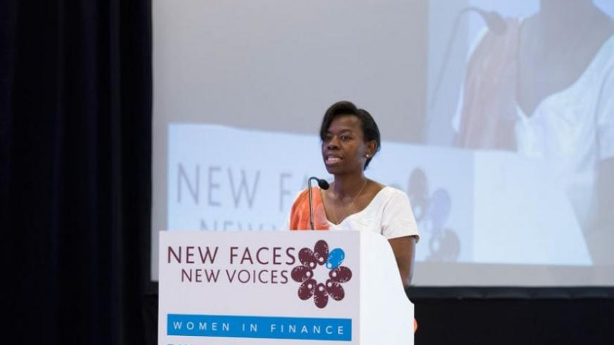 Nsanzabaganwa during the 'New Faces, New Voices' launch in Rwanda on June 10.