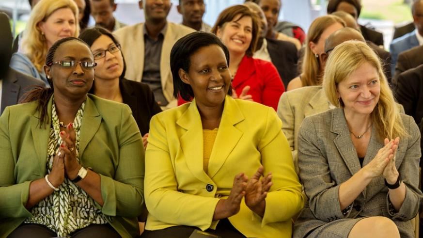 Anne Mugabo, the director-general of Labour and Employment at the Ministry of Public Service and Labour (L), Gasinzigwa and Barks-Ruggles at the launch of the project in Kigali yesterday. (All photos by Timothy Kisambira)