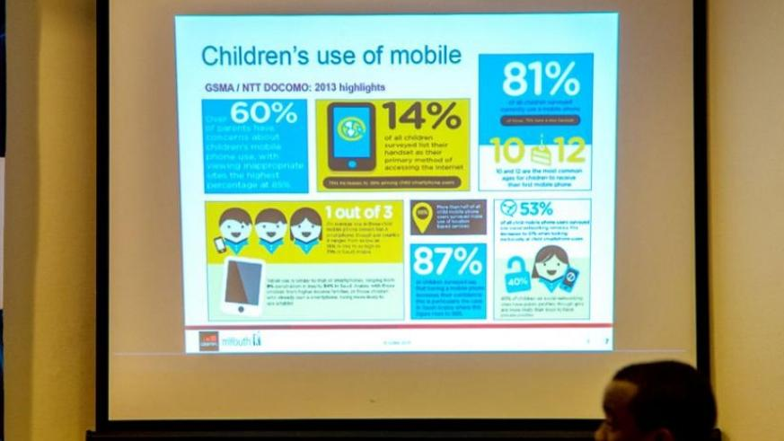 A presentation showing the statistics of children that use mobile phone. (Doreen Umutesi)