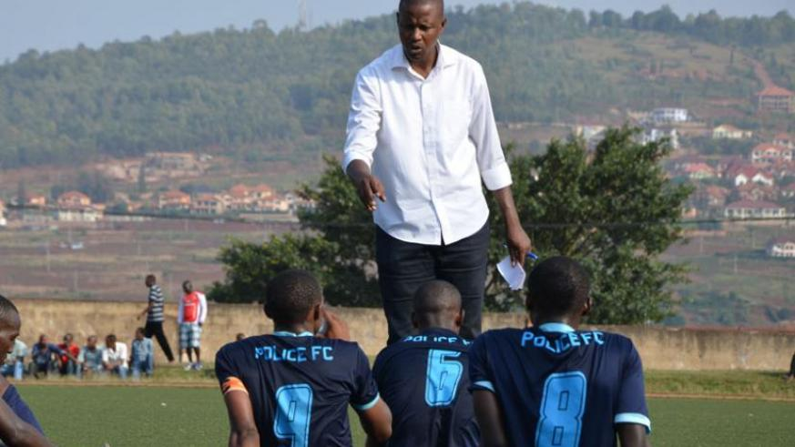 Casa Mbungo talks to Police players at half time during a league match with SC Kiyovu last season. (File)
