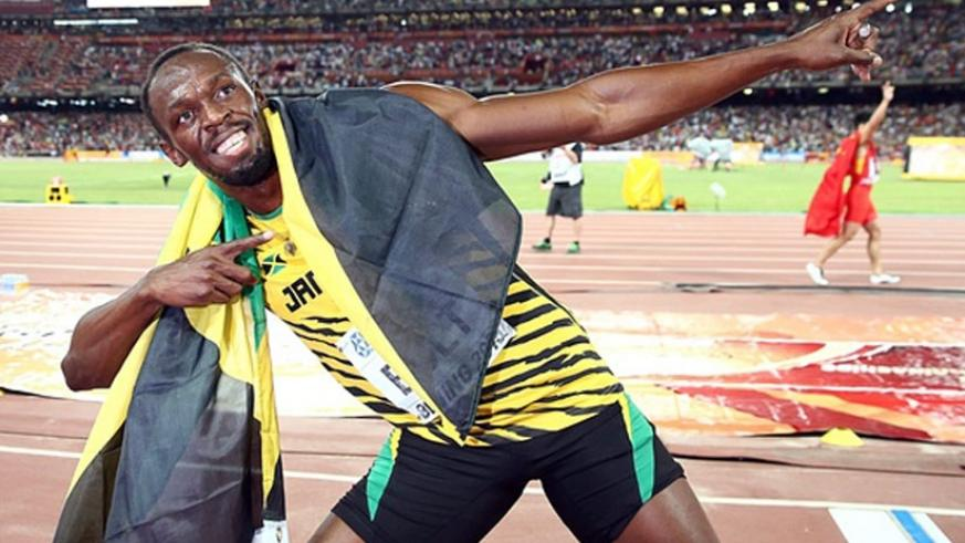 LIGHTENING BOLT: Jamaican sprint king Usain Bolt celebrates in the Bird's Nest Arena having won the 100m final at the World Championships on Sunday.,