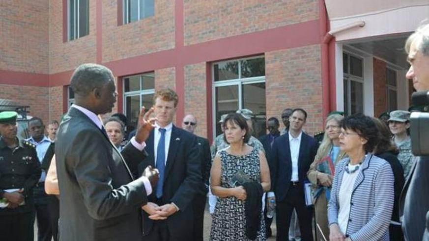 Kabarebe briefs the visiting US Congressional delagation in Kigali yesterday. (Courtesy)