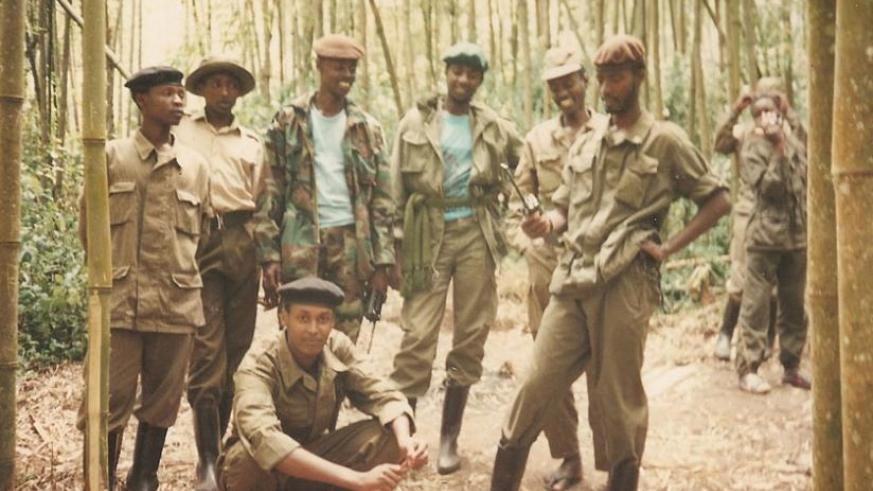 RPF combatants in the bamboo forest in northern Rwanda during the liberation struggle. (Courtesy)