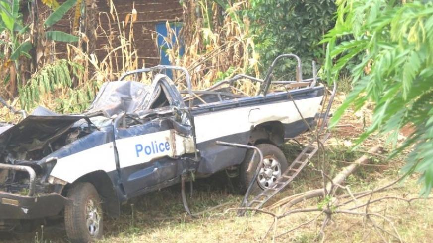 The wreckage of the police car. (Stephen Rwembeho)