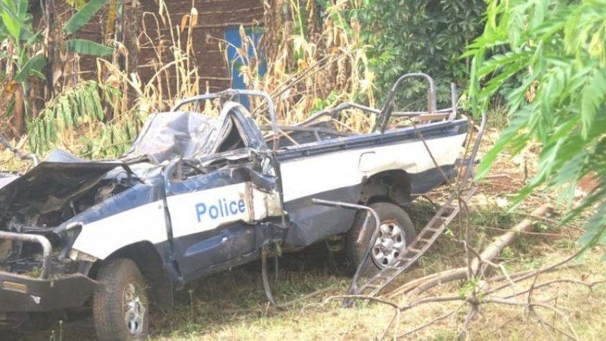 The wreckage of the police car. (S. Rwembeho)