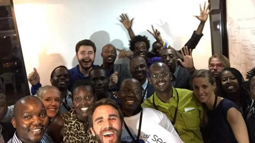 The participants in the Seedstar World startup challenge pose for a picture with the judges and organisers in Kigali on Wednesday.  (Julius Bizimungu)