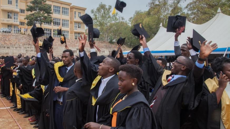 University of Rwanda's College of Business and Economics graduates celebrate after getting their degrees. The university is keen on improving its global rankings. (File)
