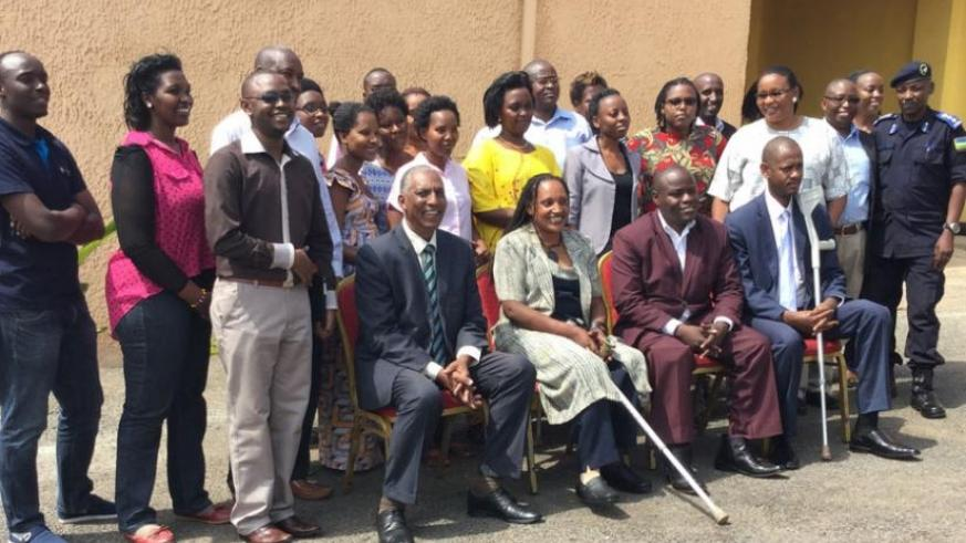 Members of the Association of Landmine Survivors and Amputees of Rwanda and other Cases of Disabilities in Kigali on Friday.