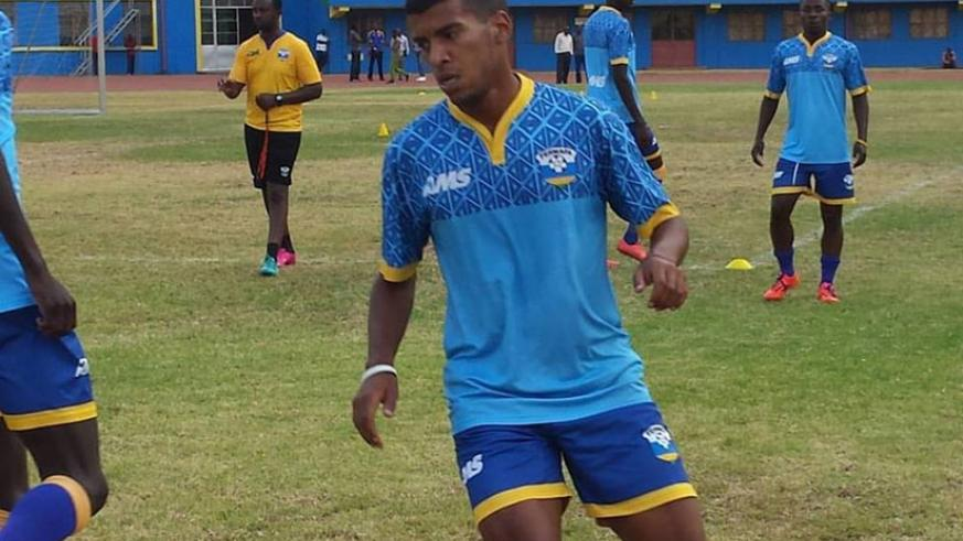 Quentin Rushenguziminega trains with Amavubi yesterday at Amahoro stadium. The Swiss-based striker is in line for his first international cap on Saturday. (Courtesy)