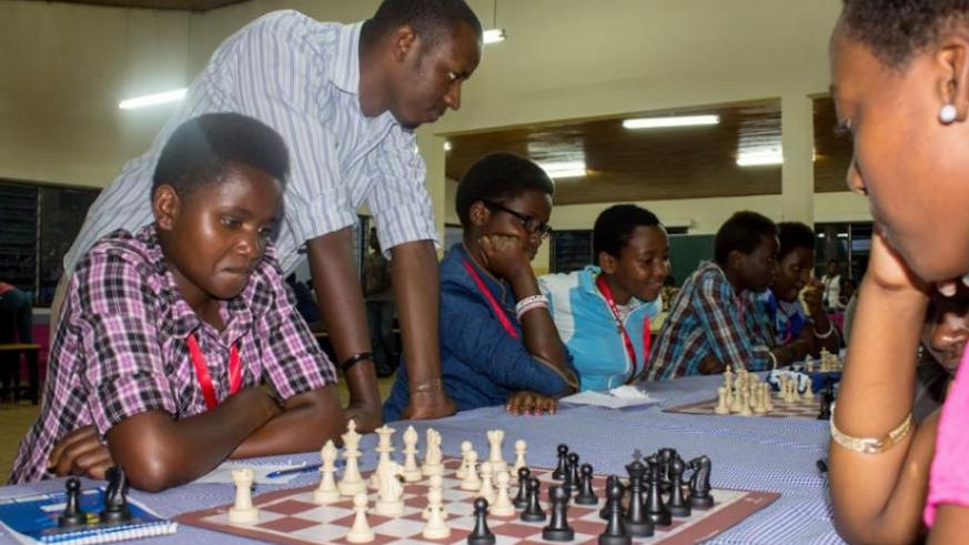 100 girls from 20 secondary schools were trained by volunteers from the Rwanda Chess Federation last month as the federation mulls a strategy to improve the country's ranking. (Courtesy)