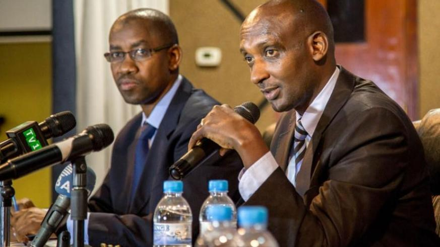 Tusabe briefs the media in Kigali yesterday as Pascal Bizimana Ruganintwali, the deputy commissioner-general and commissioner for corporate services, looks on. (D. Umutesi)