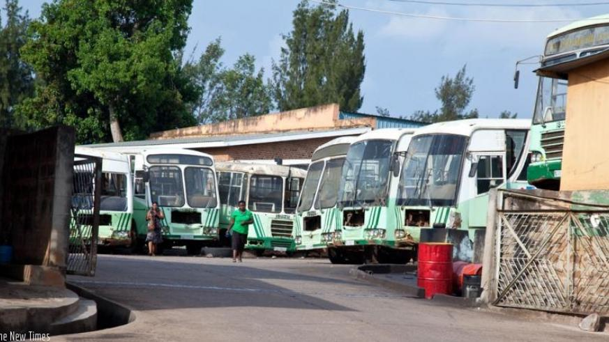 Some of the ONATRACOM buses that broke down and are parked in Nyamirambo. ONTRACOM  is one of the commercial public institutions. (Timothy Kisambira)