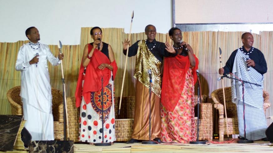 Legendary folk singers-(L-R) Intore Masamba, Mariya Yohana, Timothy Ngombwa, Julienne Gashugi and Jean-Marie Muyango excited the crowd. (All photos by Sarine Arslanian)