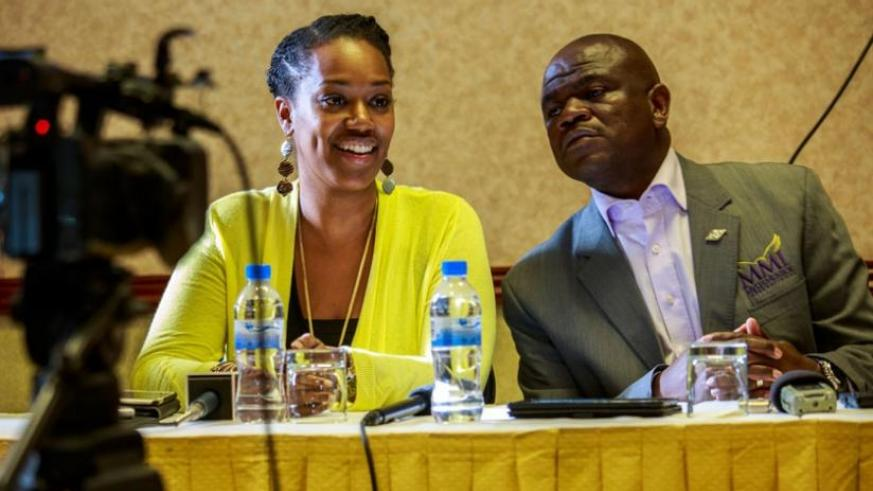 Achie McEachern, from the US (L), together with Masala, one of the guest speakers of the Leadership Summit, address journalists in Kigali yesterday. (Timothy Kisambira)
