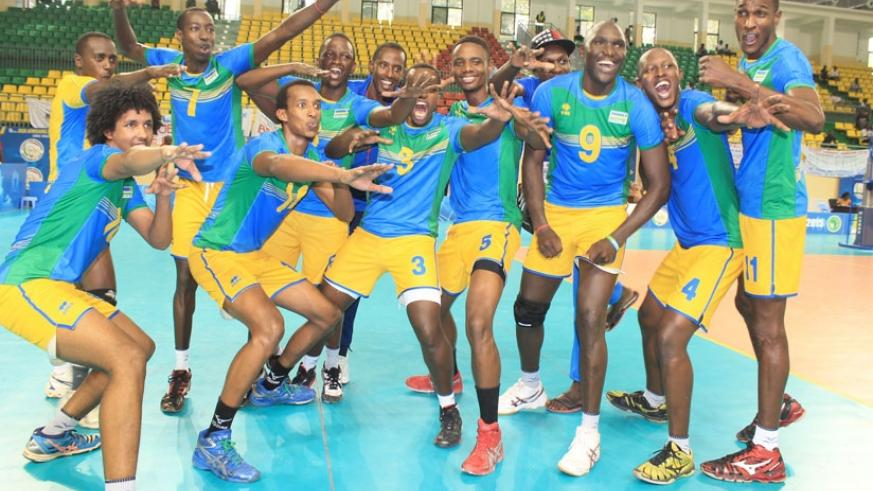 Team Rwanda celebrates after ousting defending champions Cameroon 3-1 on Thursday. (Courtesy)