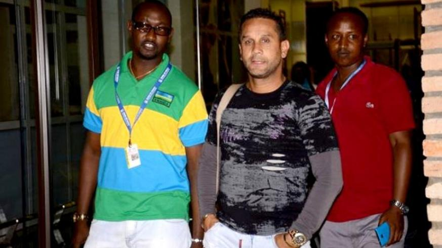 Rayon Sports SG, Olivier Gakwaya (L) and David Donadei at the Kigali International airport on Saturday. (Courtesy)