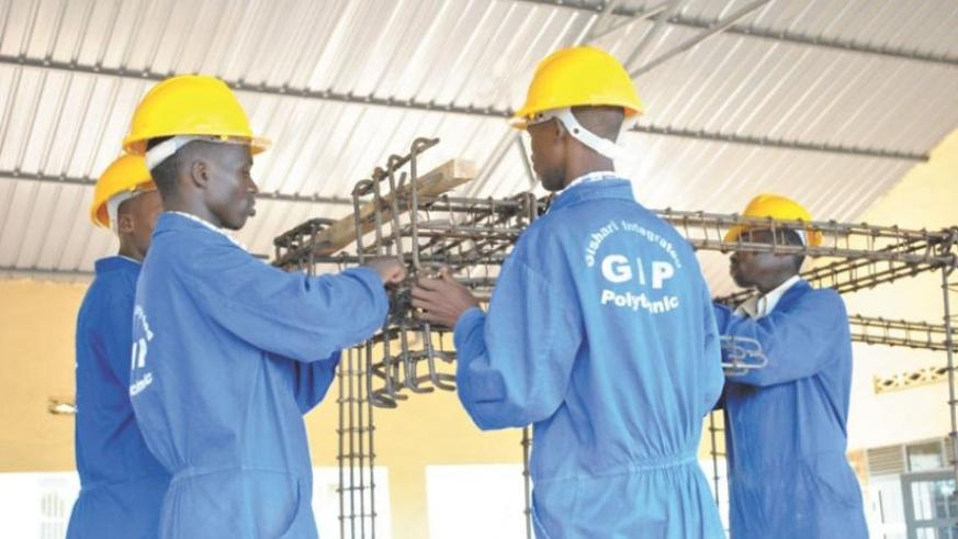 Gishari Integrated Polytechnic students at construction site. TVET is key in bridging skills gap and reducing unemployment among the youth. (File)