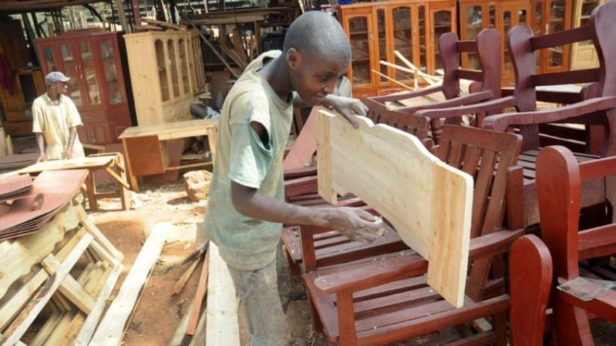 A man at a carpentry workshop. The survey shows that over 146,000 jobs were created annually in Rwanda since 2011. (File)