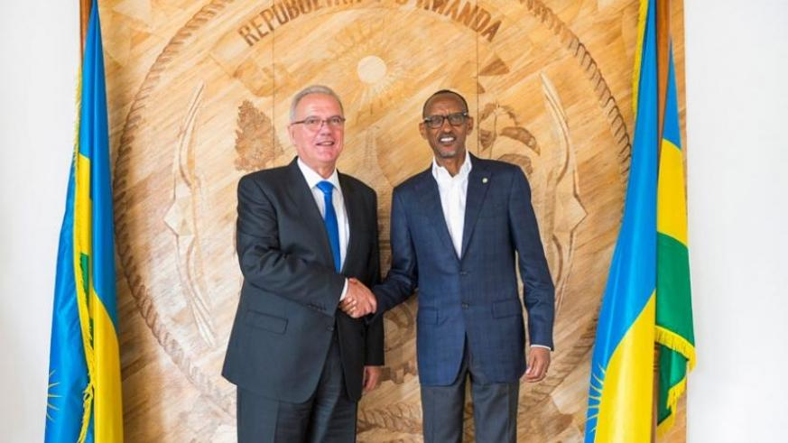 President Kagame receives European Commissioner for International Cooperation and Development, Neven Mimica, at Village Urugwiro in Kigali yesterday. (Village Urugwiro)