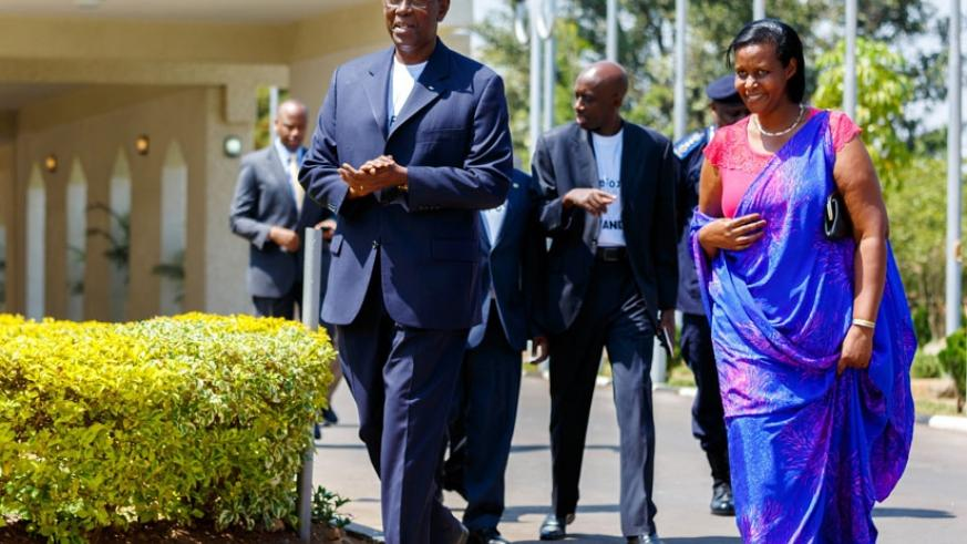 Senate president Bernard Makuza (L) chats with Gender and Family Promotion minister Oda Gasinzingwa on their arrival at Parliament ahead of the launch of the HeForShe campaign yesterday. (All photos by Timothy Kisambira)